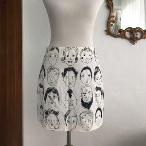 Face Design Mini Skirt Size L